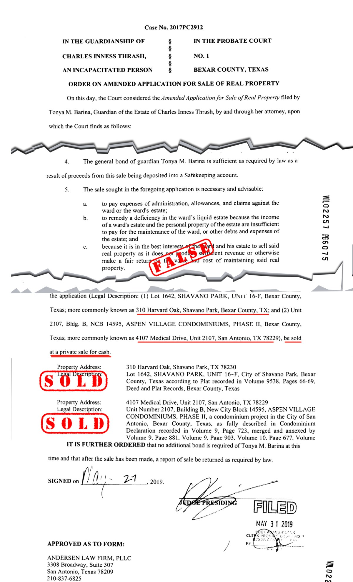 May 27, 2019: Probate Judge Oscar Kazen orders Charlie Thrash's primary & secondary residences sold, in a private sale, for cash. You'd never know the name of the Judge who signed this Order, unless you looked at the court docket and cross referenced the date of the Order, with the name of the presiding judge on that date. Does this mean that Judge Oscar Kazen is so ashamed of his adjudicated Orders that he tries to hide behind anonymity in selling off Charlie Thrash's valuable paid-for residences, that could have been used to house Charlie, instead of making Charlie pay for an assisted living facility that is probably owned by the very people involved in parts of this 'racket'.