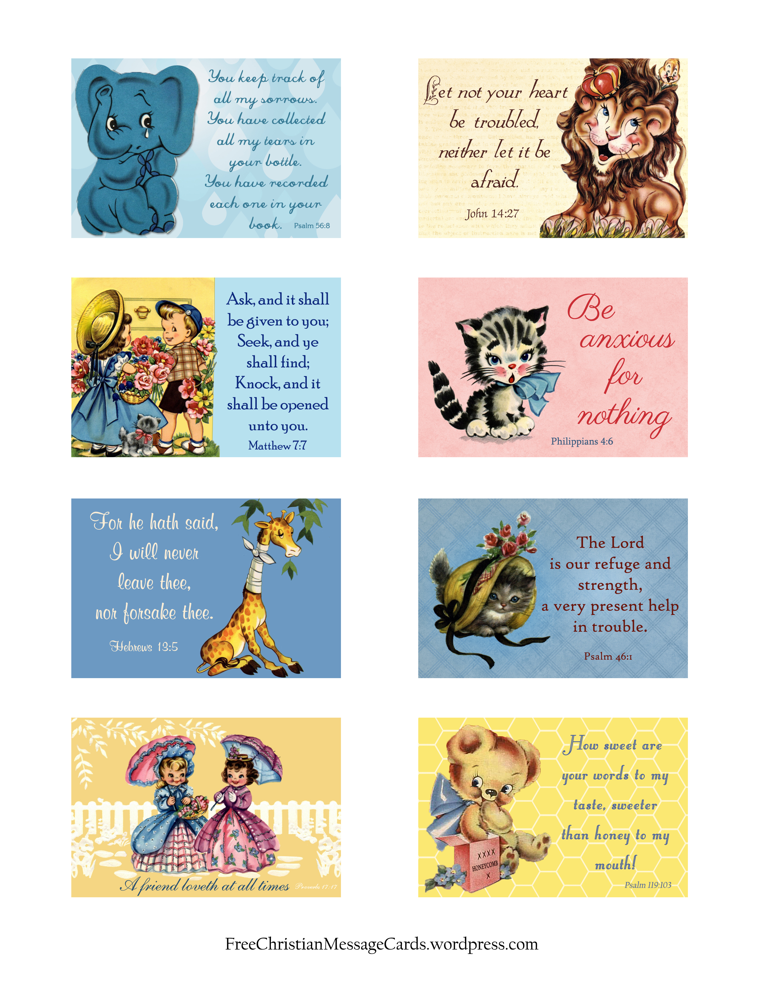 Free Printable Christian Message Cards Variety Sheet 04