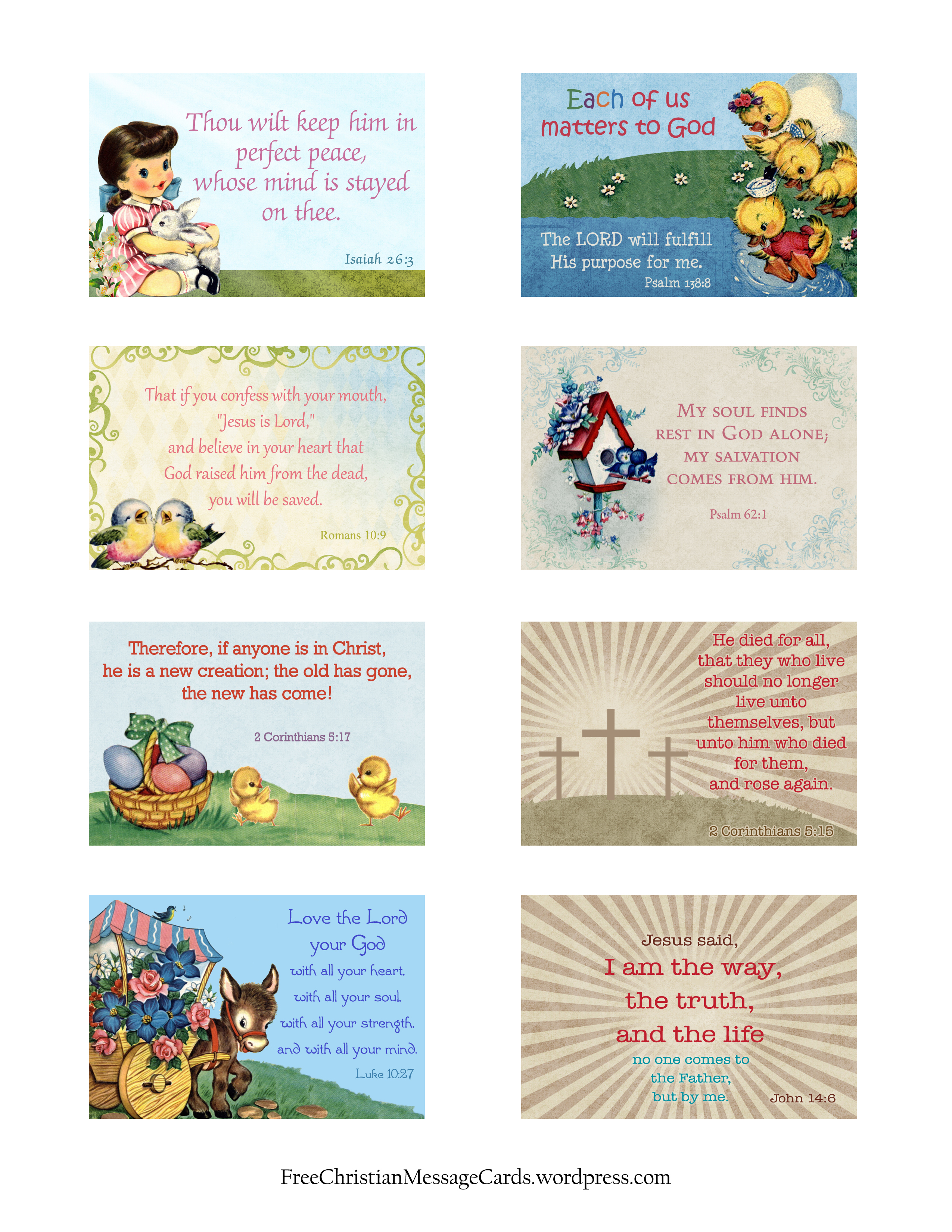 Free Printable Easter Message Cards Variety Sheet