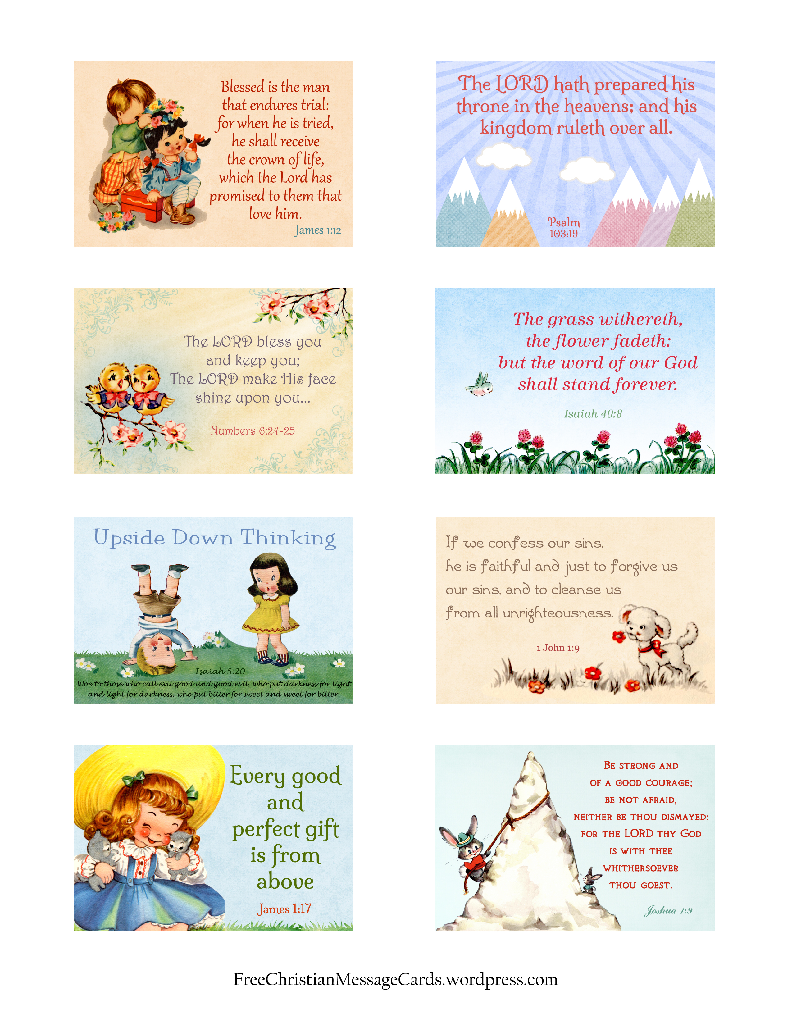 Free Printable Christian Message Cards Variety Sheet 09