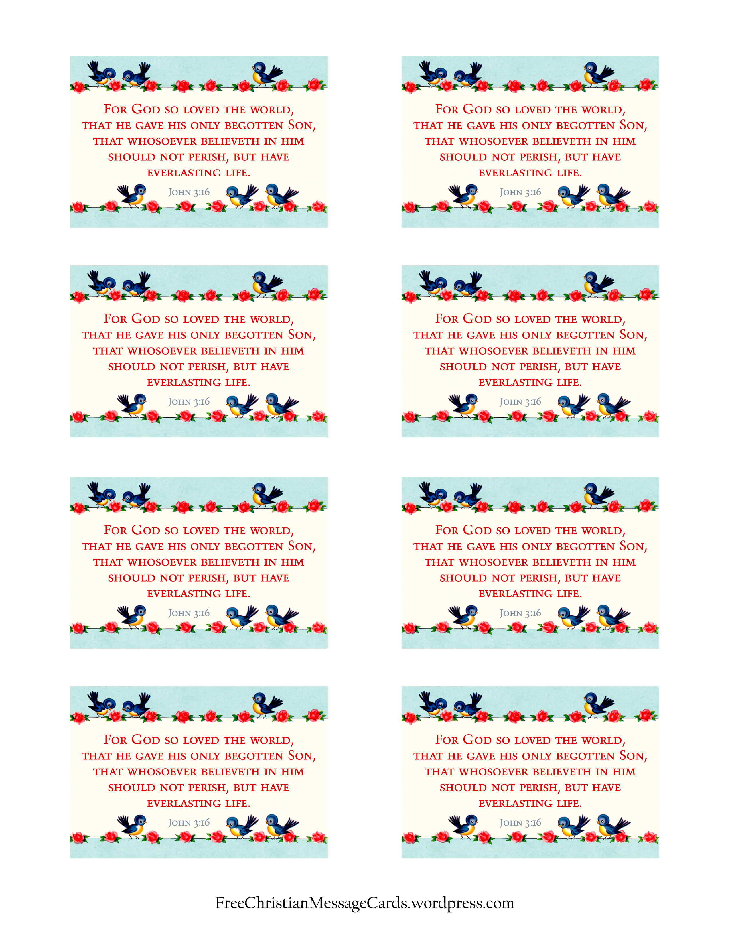 Free Printable Christian Message Cards For God So Loved The World