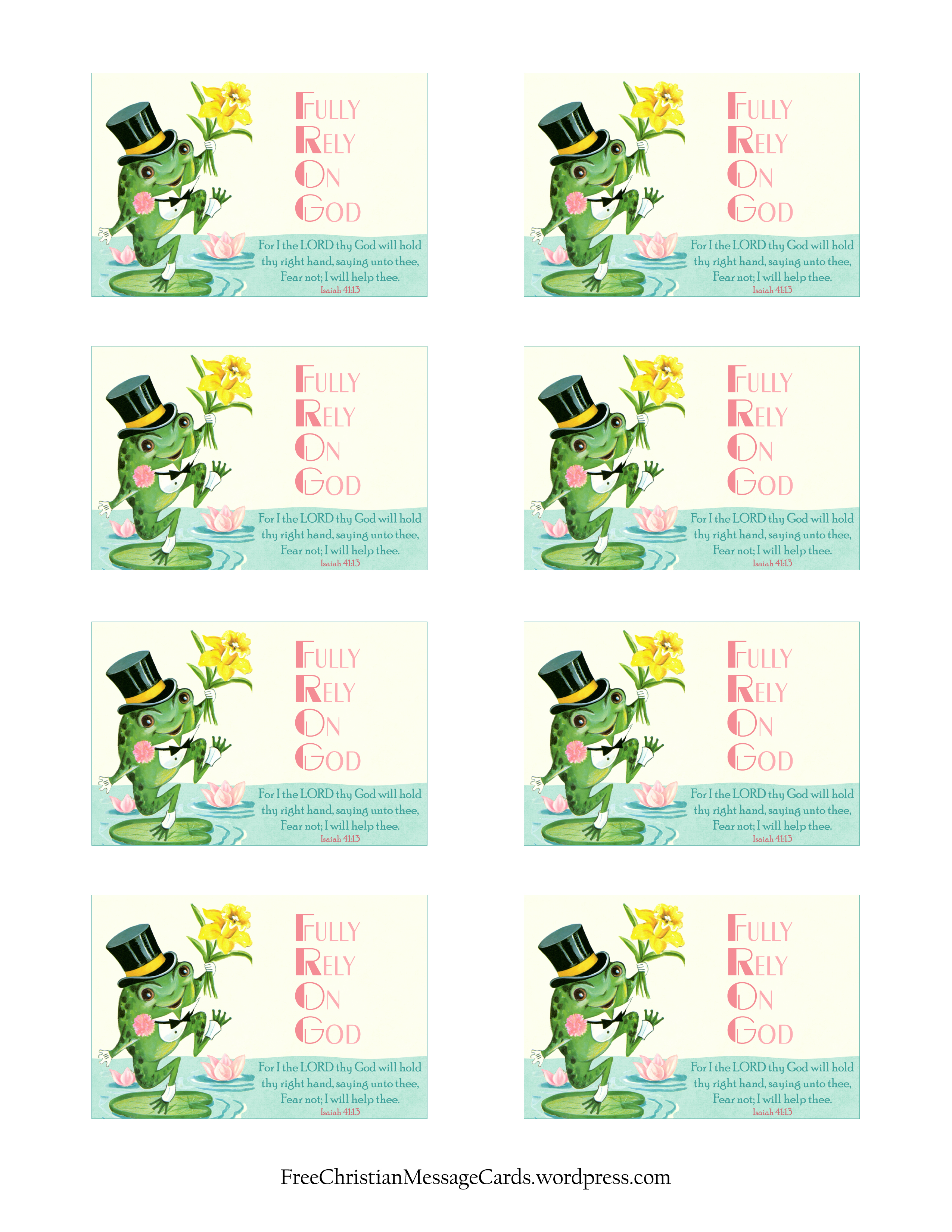 Free Printable Christian Message Cards Fear Not I Will