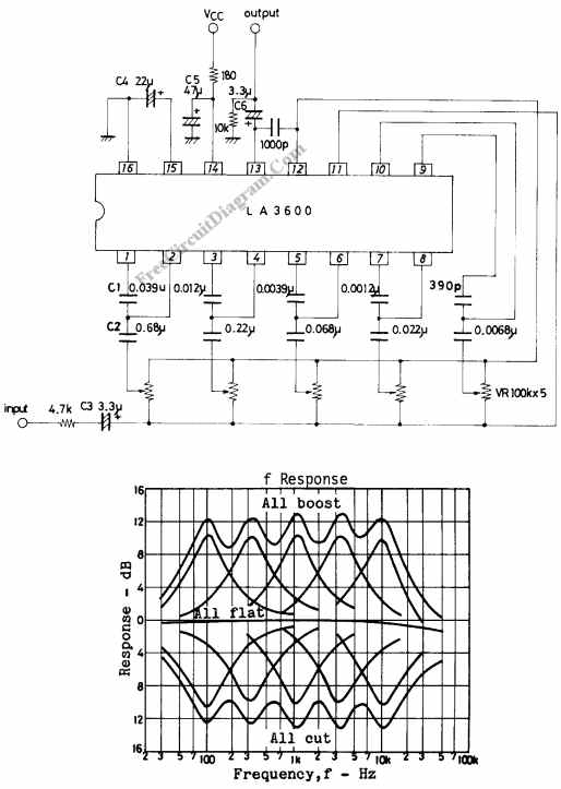 5-Band Graphic Equalizer Circuit Using LA3600 Integrated