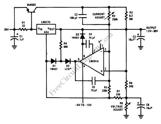 5 A Constant Voltage-Constant Current Regulator
