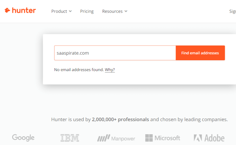 hunter failed to show email of a domain