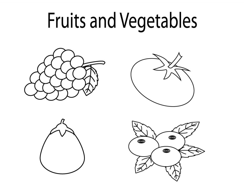 Fruit And Vegetables Coloring Pages For Kids Printable