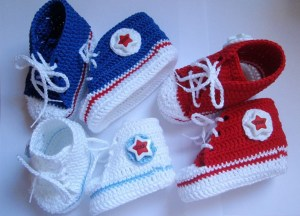 Three pairs of crochet baby sneakers