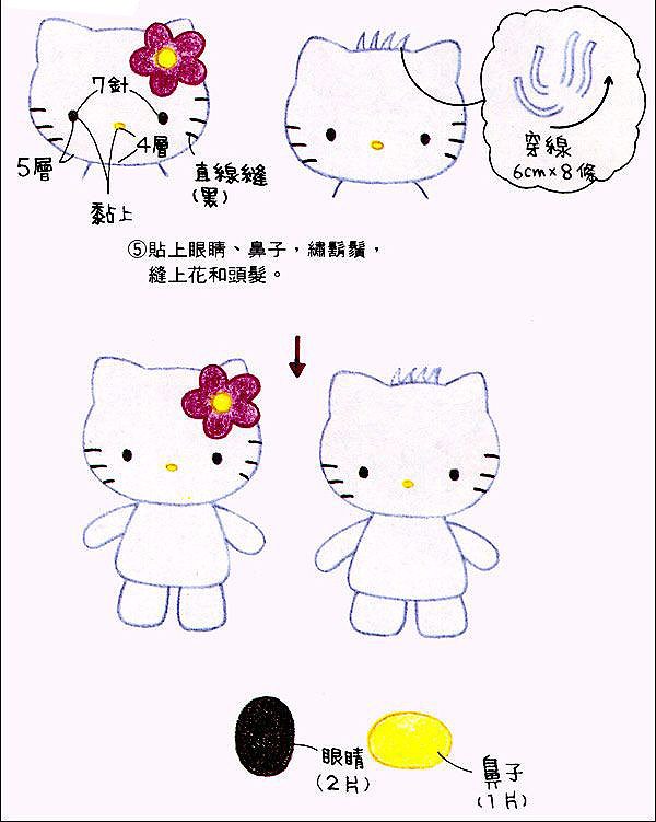 Graphic of the pattern that you will use to make this Hello Kitty kitten's crochet doll step by step. Two Dolls