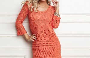 Woman using a Beautiful crochet dress pattern free. Choose your yarn and see the chart