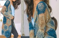 Learn how to make crochet cardigan free pattern crafts - blue and brown yarn