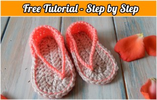 Free Crochet Pattern Sandals for baby: Tutorial vídeo, step by step