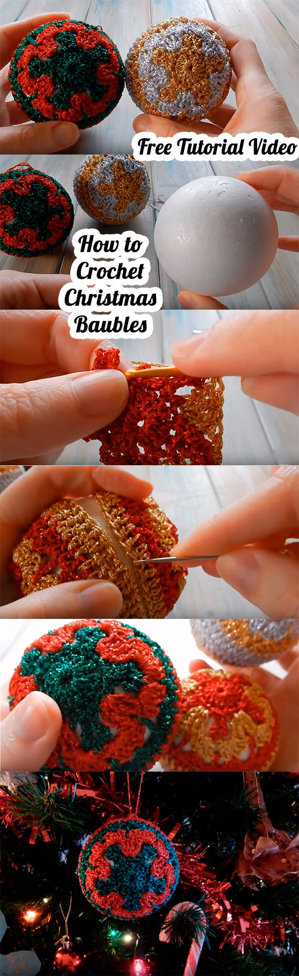 Step by Step How to Crochet Christmas Baubles