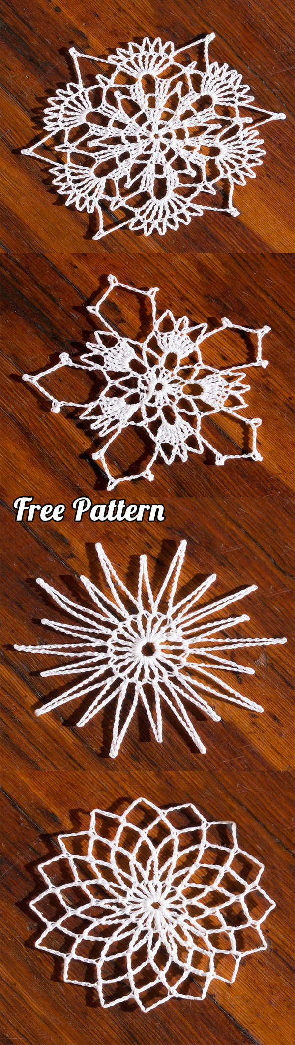 Crochet Snowflakes: Learn how to make 4 different types with free pattern