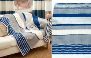 See how to make blue crochet blanket with free pattern and video tutorial