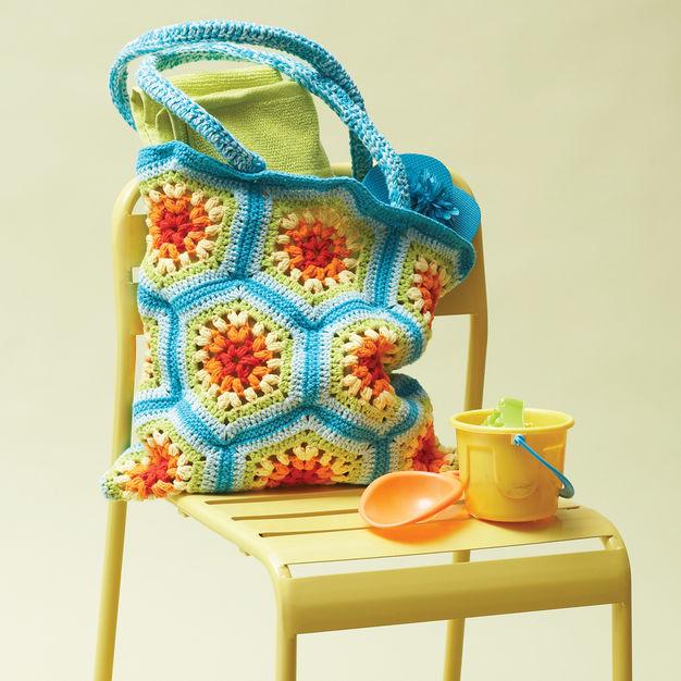 Crochet Bag Pattern Lily Sugarn Cream Rainbow Heaxagon Beach Bag
