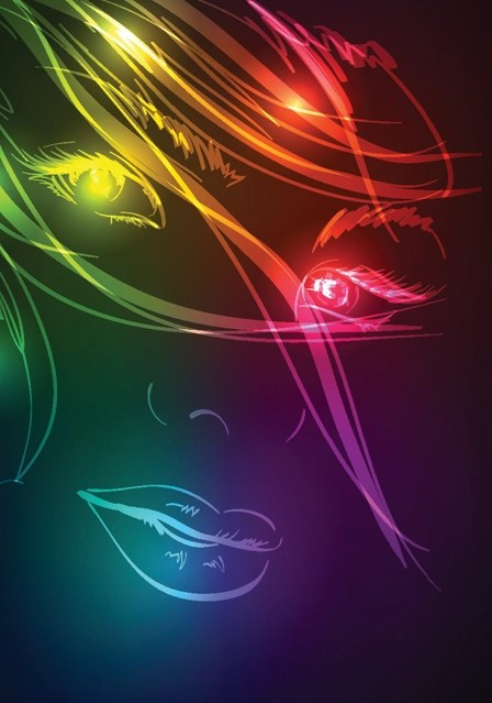 Cute Live Wallpapers For Phones Set Of Ornate Neon Light Fashion Model Vector 03 Free Download