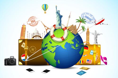 Travel design elements vector art 03 Over millions