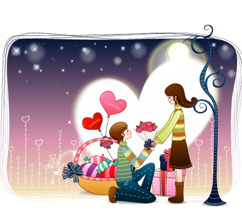 Elements of Romantic cartoon Lovers vector set 16 free