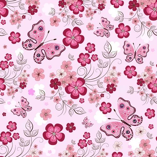 Vivid Flower pattern design vector graphic 01 free download