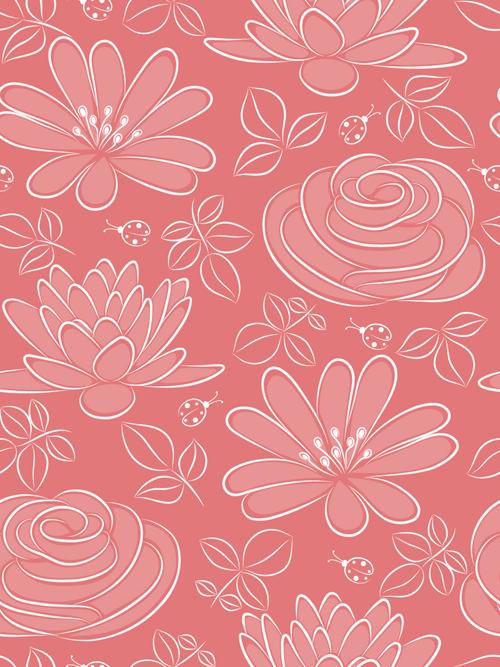 Vivid Flower pattern design vector graphic 05 free download