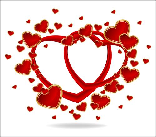 Download Gold Romantic Love hearts vector art free download