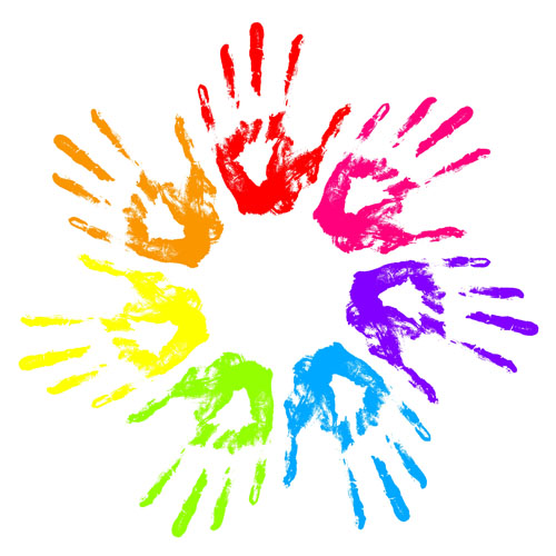Colorful Hand prints design vector set 02 free download