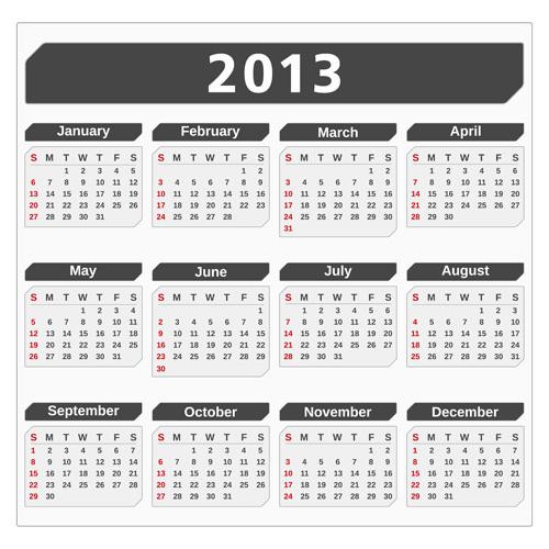 Creative 2013 Calendars design elements vector set 14
