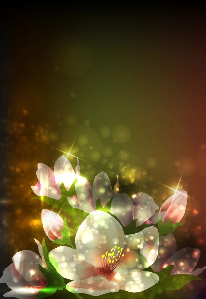 Car Wallpaper Bussines Card Elements Of Glowing Flowers Design Vector 04 Vector