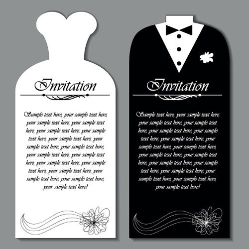 Decorative Wedding Invitation Card Templates Vector