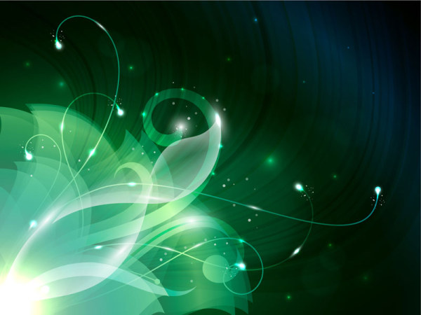Green Shiny Floral Backgrounds Vector Free Download