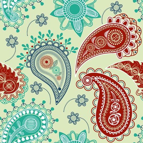 Vector paisley pattern set 03