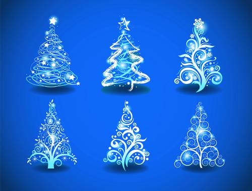 Blue Light Christmas Trees Design Vector 01 Vector Christmas Vector Festival Free Download