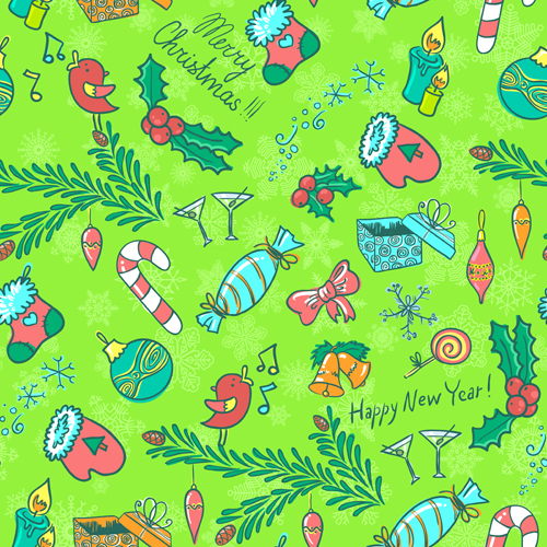 Emoticons Cute Wallpaper Cute Christmas Seamless Pattern Vector 09 Free Download