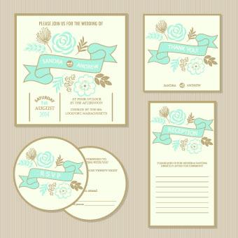 Romantic Wedding Invitation Card Vector 01