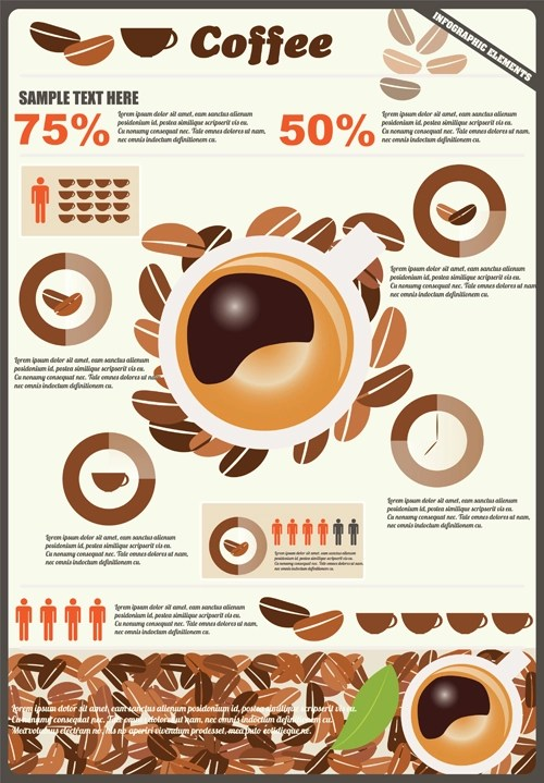 Coffee Infographics Business Template Design Vector 04