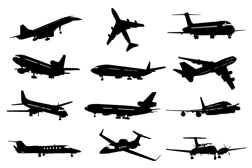 Different airplane silhouette vector set free download