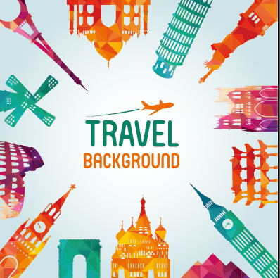 Classic Buildings With Travel Background Vector 01