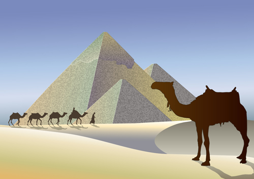 Cute Wedding Cartoon Wallpaper Creative Egypt Pyramids Background Vector Graphics 03 Free