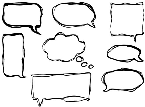 Hand drawn speech bubbles creative vector free download