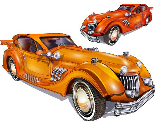 shiny retro car vector