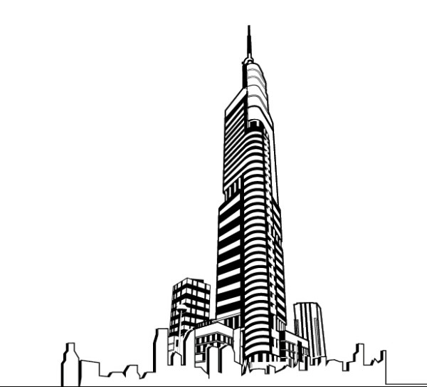 Hand drawing skyscrapers design vector free download