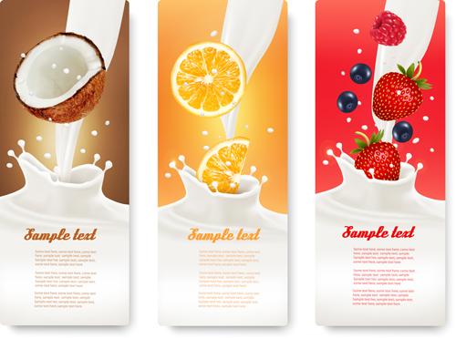 Fruit Milk Advertising Banner Vector Graphics 04 Vector
