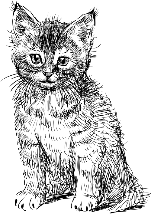 Hand drawing black kittens vector 05 free download