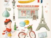 paris cartoon design elements vector
