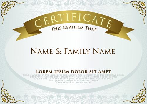 Elegant certificate template vector design 01 free download