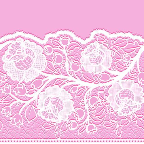 Pink Background With White Lace Vector Material 02 Free