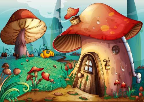 Cute Vintage Floral Wallpaper Fantasy Fairy Tale World Cartoon Vector 03 Vector