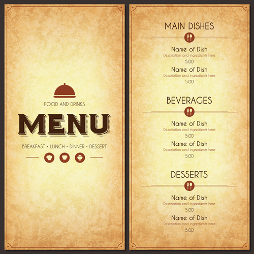 Restaurant Menu Cover With List Vector Set 03 Free Download