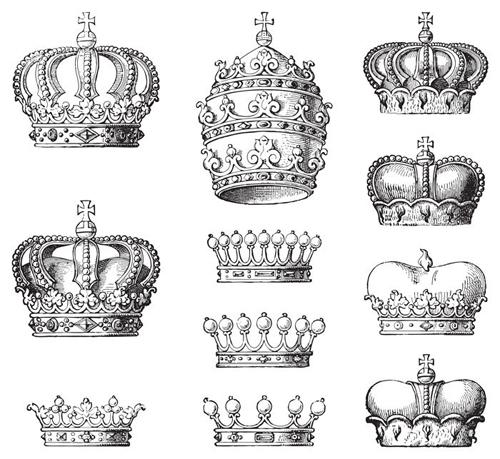 Royal crown vintage design vectors 07 free download