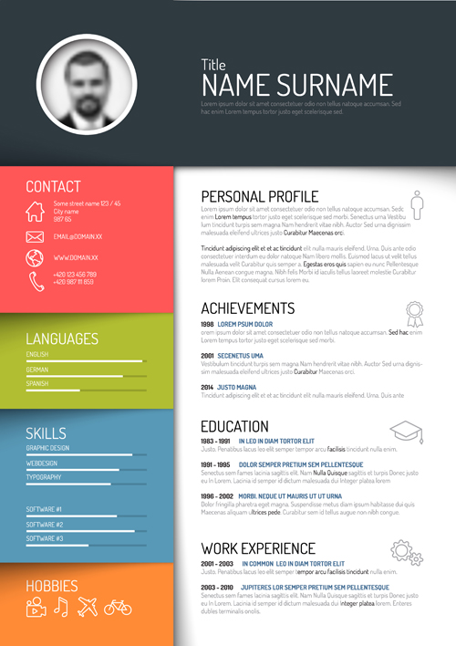 Creative resume template design vectors 05 free download
